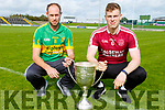 Hurling final captains Michael Conway (Lixnaw) and Muris Delaney (Causeway) with the Neilus Flynn Hurling Championship cup
