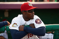 Tri-City ValleyCats outfielder Hector Roa (16) in the dugout before a game against the Brooklyn Cyclones on September 1, 2015 at Joseph L. Bruno Stadium in Troy, New York.  Tri-City defeated Brooklyn 5-4.  (Mike Janes/Four Seam Images)