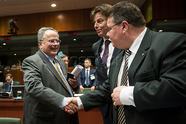 Greek Foreign Minister Nikos Kotzias (L), Dutch Foreign Minister Bert Koenders (C) and Lithuanian Foreign Minister Linas Antanas Linkevi?ius    prior to the European Union Foreign Ministers Council at EU headquarters  in Brussels, Belgium on 29.01.2015 Federica Mogherini , EU High representative for foreign policy called extraordinary meeting on the situation in Ukraine after the attack on Marioupol.  by Wiktor Dabkowski