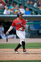 Rochester Red Wings right fielder Daniel Palka (37) bats during a game against the Columbus Clippers on August 9, 2017 at Frontier Field in Rochester, New York.  Rochester defeated Columbus 12-3.  (Mike Janes/Four Seam Images)