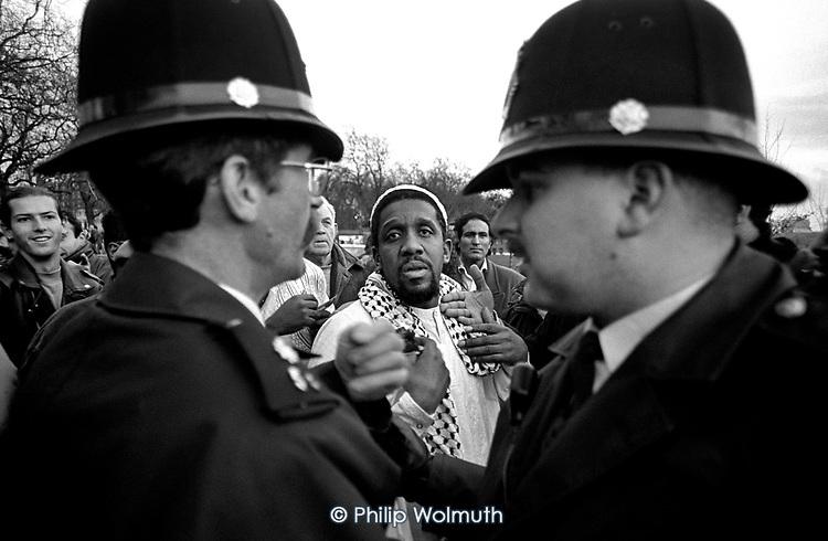 Police intervene in a potentially violent argument at Speakers Corner, Hyde Park, London
