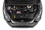 Car Stock 2021 Ford Galaxy Titanium 5 Door Minivan Engine  high angle detail view