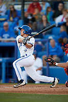 Dunedin Blue Jays second baseman Andrew Guillotte (1) follows through on a swing during a game against the Clearwater Threshers on April 8, 2017 at Florida Auto Exchange Stadium in Dunedin, Florida.  Dunedin defeated Clearwater 12-6.  (Mike Janes/Four Seam Images)
