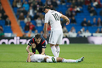 Real Madrid´s James Rodriguez calls the medical services after Sami Khedira got injured during Spanish King Cup match between Real Madrid and Cornella at Santiago Bernabeu stadium in Madrid, Spain.December 2, 2014. (NortePhoto/ALTERPHOTOS/Victor Blanco)