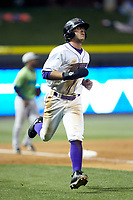 Blake Rutherford (9) of the Winston-Salem Dash hustles towards home plate against the Lynchburg Hillcats at BB&T Ballpark on May 1, 2018 in Winston-Salem, North Carolina. The Dash defeated the Hillcats 9-0. (Brian Westerholt/Four Seam Images)