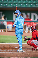 Andy Pages (18) of the Ogden Raptors bats against the Orem Owlz at Lindquist Field on June 20, 2019 in Ogden, Utah. The Owlz defeated the Raptors 11-8. (Stephen Smith/Four Seam Images)