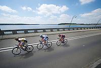 3 counter-attackers now form a new lead group: Jimmy Janssens (BEL/3M), Brian Bulgaç (NLD/Giant-Shimano) & Silvan Dillier (SUI/BMC)<br /> <br /> 2014 Belgium Tour<br /> stage 4: Lacs de l'Eau d'Heure - Lacs de l'Eau d'Heure (178km)
