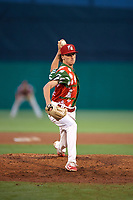 "Palm Beach Cardinals relief pitcher Brady Bowen (29) delivers a pitch during a game against the Charlotte Stone Crabs on July 22, 2017 at Roger Dean Stadium in Palm Beach, Florida.  The Cardinals wore special ""Ugly Sweater"" jerseys for Christmas in July.  Charlotte defeated Palm Beach 5-2.  (Mike Janes/Four Seam Images)"