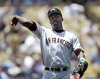 Shawon Dunston of the San Francisco Giants throws before a 2002 MLB season game against the Los Angeles Dodgers at Dodger Stadium, in Los Angeles, California. (Larry Goren/Four Seam Images)