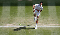 2nd July 2021; Wimbledon, SW London. England; Wimbledon Tennis Championships, day 5;  Novak Djokovic of Serbia serves during the mens singles third round match between Novak Djokovic of Serbia and Denis Kudla of the United States