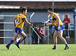 Cian O Dea of Clare celebrates his goal against Cork with team mate Jamie Malone during their National Football League game at Cusack Park. Photograph by John Kelly.