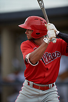 GCL Phillies East Luis Matos (25) bats during a Gulf Coast League game against the GCL Yankees East on July 31, 2019 at Yankees Minor League Complex in Tampa, Florida.  GCL Phillies East defeated the GCL Yankees East 4-3 in the second game of a doubleheader.  (Mike Janes/Four Seam Images)