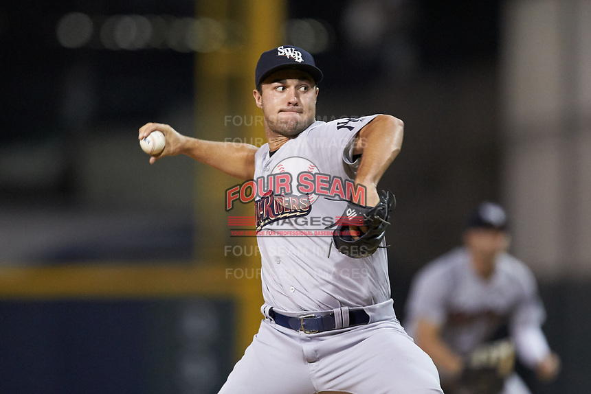 Scranton/Wilkes-Barre RailRiders relief pitcher J.P. Feyereisen (18) in action against the Gwinnett Stripers at Coolray Field on August 18, 2019 in Lawrenceville, Georgia. The RailRiders defeated the Stripers 9-3. (Brian Westerholt/Four Seam Images)