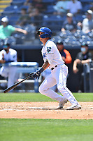 Asheville Tourists Korey Lee (5) swings at a pitch during a game against the Greenville Drive on May 23, 2021 at McCormick Field in Asheville, NC. (Tony Farlow/Four Seam Images)