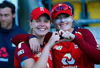 England's Freya Davies and Sophie Ecclestone celebrate winning the 3rd international women's T20 cricket match between the New Zealand White Ferns and England at Sky Stadium in Wellington, New Zealand on Sunday, 7 March 2021. Photo: Dave Lintott / lintottphoto.co.nz
