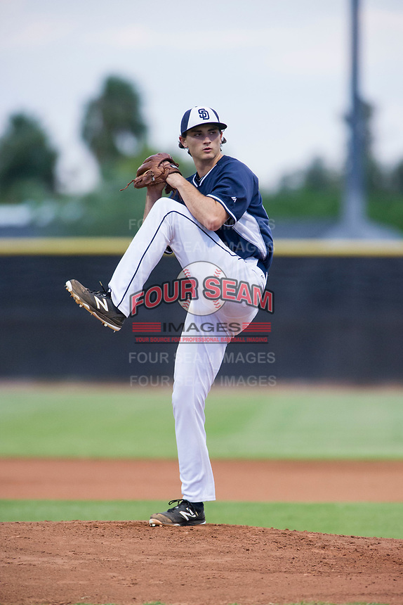 AZL Padres starting pitcher Sam Keating (47) delivers a pitch to the plate against the AZL Indians at the San Diego Padres Spring Training Complex in Peoria, Arizona. AZL Padres defeated the AZL Indians 7-4. (Zachary Lucy/Four Seam Images)