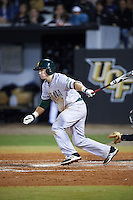 Siena Saints shortstop Max Goione (7) at bat during a game against the UCF Knights on February 17, 2017 at UCF Baseball Complex in Orlando, Florida.  UCF defeated Siena 17-6.  (Mike Janes/Four Seam Images)