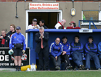 Gary Calder of Hornchurch urges on his team from the away dugout at the Recreation Ground - Grays Athletic Football Club - 03/04/04 - MANDATORY CREDIT: Gavin Ellis/TGSPHOTO