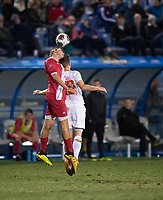 Santa Barbara, CA - Friday, December 7, 2018:  Maryland men's soccer defeated Indiana 2-0 in a semi-final match in the 2018 College Cup.  Header.