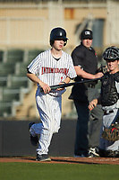 Kannapolis Intimidators bat boy Allan Westerholt retrieves a bat during the game against the Hickory Crawdads at Kannapolis Intimidators Stadium on May 2, 2018 in Kannapolis, North Carolina.  The Intimidators defeated the Crawdads 9-6.  (Brian Westerholt/Four Seam Images)
