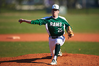 Farmingdale State Rams relief pitcher Jake Shickler (25) delivers a pitch during the second game of a doubleheader against the FDU-Florham Devils on March 15, 2017 at Lake Myrtle Park in Auburndale, Florida.  FDU-Florham defeated Farmingdale 8-4.  (Mike Janes/Four Seam Images)