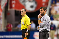 DC United heac coach Ben Olsen. The New York Red Bulls defeated DC United 3-2 during a Major League Soccer (MLS) match at Red Bull Arena in Harrison, NJ, on June 24, 2012.