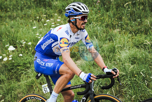Julian Alaphilippe (FRA) Deceuninck-Quick Step out front during Stage 5 of Criterium du Dauphine 2020, running 153.5km from Megeve to Megeve, France. 16th August 2020.<br /> Picture: ASO/Alex Broadway | Cyclefile<br /> All photos usage must carry mandatory copyright credit (© Cyclefile | ASO/Alex Broadway)