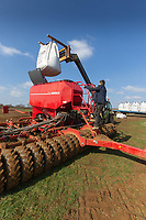 7-3-2021 Putting Spring Barley in a seed drill<br /> ©Tim Scrivener Photographer 07850 303986<br />      ....Covering Agriculture In The UK....