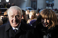 Former Canadian Prime Minister Brian Mulroney and wife Mila Mulroney attend the funeral of Rene Angelil, , Friday Jan. 22, 2016 at Notre-Dame Basilica in Montreal, Canada.<br /> <br /> <br /> <br /> <br /> <br /> <br /> <br /> <br /> <br /> <br /> <br /> <br /> <br /> .
