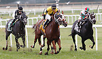 September 1, 2014: #4 Quality Lass (center), John Bisono up, wins the Turf Amazon Handicap at Parx Racing in Bensalem, PA. Trainer is Guadalupe Preciado; owner is West Point Thoroughbreds. ©Joan Fairman Kanes/ESW/CSM