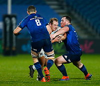 19th March 2021; RDS Arena, Dublin, Leinster, Ireland; Guinness Pro 14 Rugby, Leinster versus Ospreys; Rhys Henry of Ospreys is tackled by Josh Murphy and Peter Dooley of Leinster