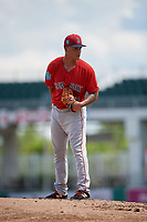 Boston Red Sox pitcher Francisco Lopez-Soto (51) looks in for the sign during a Florida Instructional League game against the Baltimore Orioles on September 21, 2018 at JetBlue Park in Fort Myers, Florida.  (Mike Janes/Four Seam Images)