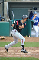 Javier Guerra (12) of the Lake Elsinore Storm bats against the Rancho Cucamonga Quakes at LoanMart Field on April 10, 2016 in Rancho Cucamonga, California. Lake Elsinore defeated Rancho Cucamonga, 7-6. (Larry Goren/Four Seam Images)