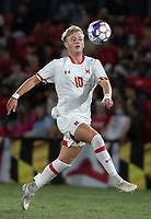 COLLEGE PARK, MD - SEPTEMBER 3: Maryland University forward Caden Stafford (10) moves onto a high ball during a game between George Mason University and University of Maryland at Ludwig Field on September 3, 2021 in College Park, Maryland.