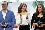 "Queen Letizia of Spain (c) with Roberto Aliaga Sanchez (l) and Fatima Embark Ali, winners of the SM Prizes for Children and Youth Literature ""El Barco de Vapor"" and ""Gran Angular"". April 18, 2017. (ALTERPHOTOS/Acero)"