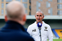 4th September 2021; Merton, London, England;  EFL Championship football, AFC Wimbledon versus Oxford City: A delighted AFC Wimbledon Manager Mark Robinson answers questions from the written press after AFC Wimbledon beat Oxford United 3-1