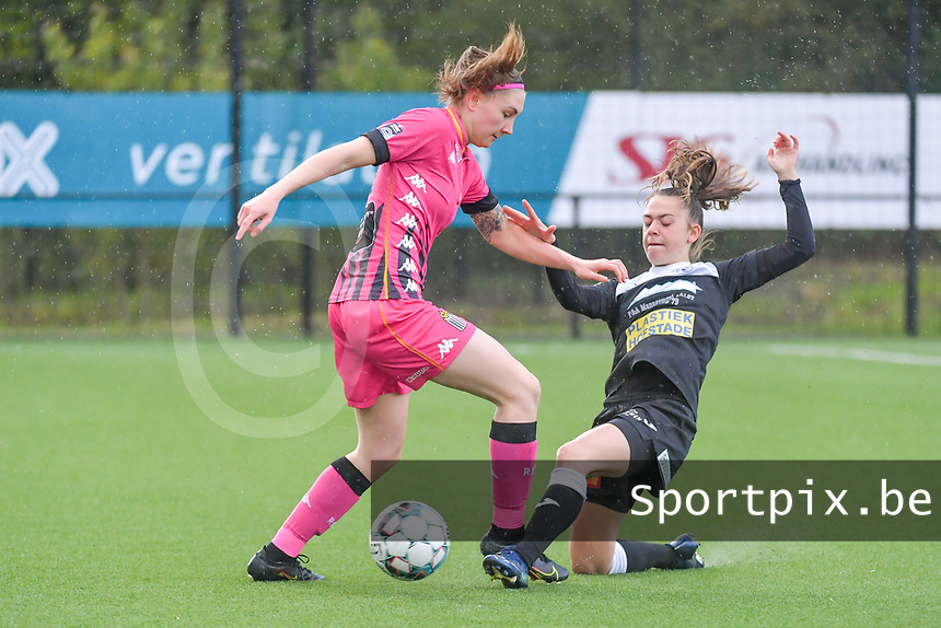 Estelle Dessilly (13) of Sporting Charleroi and Tiffanie Vanderdonckt (5) of Eendracht Aalst pictured during a female soccer game between Sporting Charleroi and Eendracht Aalst on the 8th matchday in play off 2 of the 2020 - 2021 season of Belgian Scooore Womens Super League , tuesday 18 th of May 2021 in Marcinelle , Belgium . PHOTO SPORTPIX.BE   SPP   STIJN AUDOOREN