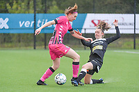 Estelle Dessilly (13) of Sporting Charleroi and Tiffanie Vanderdonckt (5) of Eendracht Aalst pictured during a female soccer game between Sporting Charleroi and Eendracht Aalst on the 8th matchday in play off 2 of the 2020 - 2021 season of Belgian Scooore Womens Super League , tuesday 18 th of May 2021 in Marcinelle , Belgium . PHOTO SPORTPIX.BE | SPP | STIJN AUDOOREN
