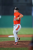 Aberdeen IronBirds starting pitcher Cody Sedlock (50) delivers a warmup pitch during a game against the Batavia Muckdogs on July 15, 2016 at Dwyer Stadium in Batavia, New York.  Aberdeen defeated Batavia 4-2.  (Mike Janes/Four Seam Images)
