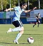 BRISBANE, AUSTRALIA - OCTOBER 30: Leena Khamis of Sydney passes the ball during the round 1 Westfield W-League match between the Brisbane Roar and Sydney FC at Spencer Park on November 5, 2016 in Brisbane, Australia. (Photo by Patrick Kearney/Brisbane Roar)