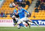St Johnstone v Partick Thistle...29.03.14    SPFL<br /> Michael O'Halloran is brought down by Chris Erskine<br /> Picture by Graeme Hart.<br /> Copyright Perthshire Picture Agency<br /> Tel: 01738 623350  Mobile: 07990 594431