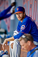 7 March 2019: New York Mets starting pitcher Jacob deGrom sits in the dugout during a Spring Training Game against the Washington Nationals at the Ballpark of the Palm Beaches in West Palm Beach, Florida. The Nationals defeated the visiting Mets 6-4 in Grapefruit League, pre-season play. Mandatory Credit: Ed Wolfstein Photo *** RAW (NEF) Image File Available ***