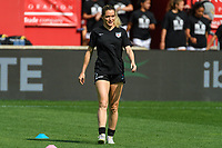 BRIDGEVIEW, IL - JULY 18: Kealia Watt #2 of the Chicago Red Stars warms up before a game between OL Reign and Chicago Red Stars at SeatGeek Stadium on July 18, 2021 in Bridgeview, Illinois.