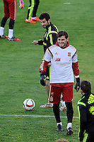 Spanish National Team's  training at Ciudad del Futbol stadium in Las Rozas, Madrid, Spain. In the pic: Raul Albiol and Iker Casillas. March 25, 2015. (ALTERPHOTOS/Luis Fernandez) /NORTEphoto.com