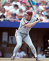 Philadelphia Phillies Lenny Dykstra (4) in action during a game from the 1990 season against the New York Mets at Shea Stadium in Flushing Meadows, New York. Lenny Dykstra played for 12 years with 2 different teams.