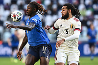 Moise Kean of Italy and Jason Denayer of Belgium compete for the ball during the Uefa Nations League 3rd and 4th place final football match between Italy and Belgium at Juventus stadium in Torino (Italy), October 10th, 2021. Photo Image Sport / Insidefoto