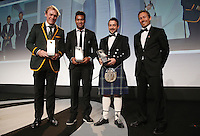 LONDON, ENGLAND - NOVEMBER 01:  (L-R) Schalk Burger of South Africa, Julian Savea of New Zealand, Greig Laidlaw of Scotland receive the Societe Generale Dream Team award from Jonny Wilkinson (R) during the World Rugby Awards 2015 at Battersea Evolution on November 1, 2015 in London, England.