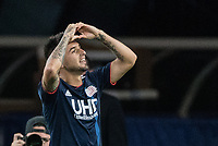 FOXBOROUGH, MA - JULY 27:  Diego Fagundez #14 thanks his fans at Gillette Stadium on July 27, 2019 in Foxborough, Massachusetts.