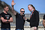 Former winner John Degenkolb (GER) Trek-Segafredo on stage at the team presentation before the 116th edition of Paris-Roubaix 2018. 7th April 2018.<br /> Picture: ASO/Pauline Ballet | Cyclefile<br /> <br /> <br /> All photos usage must carry mandatory copyright credit (© Cyclefile | ASO/Pauline Ballet)