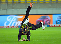Australia's Adam Zampa catches Mark Chapman during the third international men's T20 cricket match between the New Zealand Black Caps and Australia at Sky Stadium in Wellington, New Zealand on Wednesday, 3 March 2021. Photo: Dave Lintott / lintottphoto.co.nz